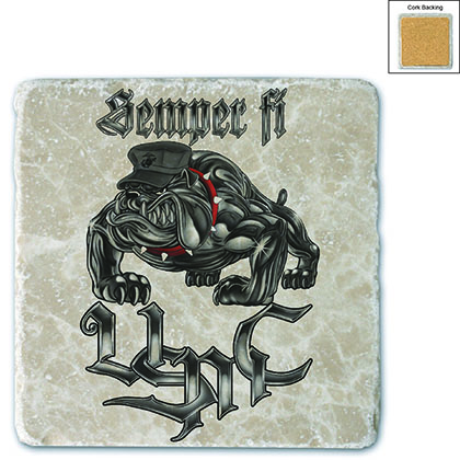 Sempri Fi Chrome Dog Marine Corps Stone Coaster