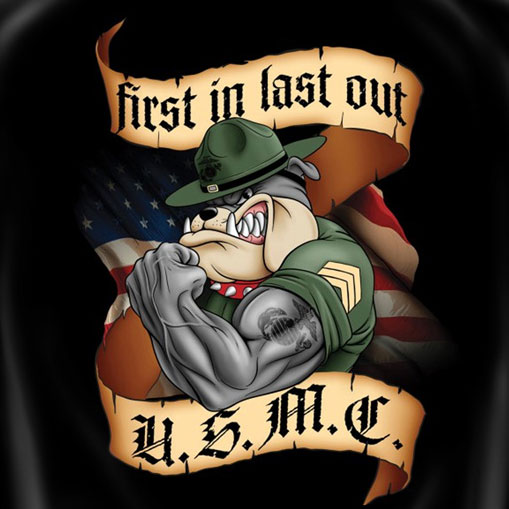 First In Last Out US Marine Corps Patriotic Tee Shirt