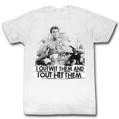 Muhammad Ali Out Wit Out It Mens White T-Shirt