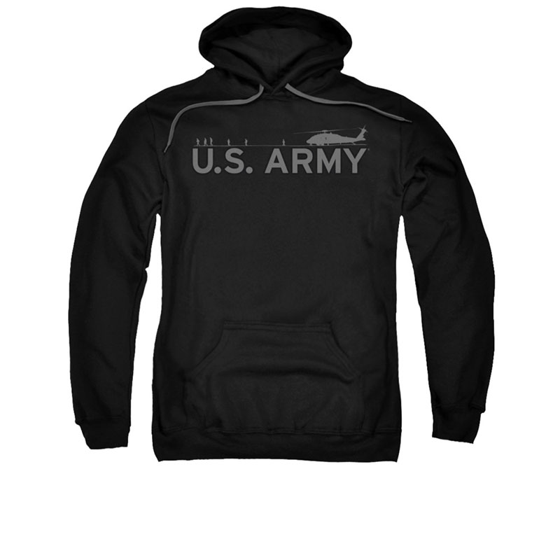 US Army Helicopter Black Pullover Hoodie