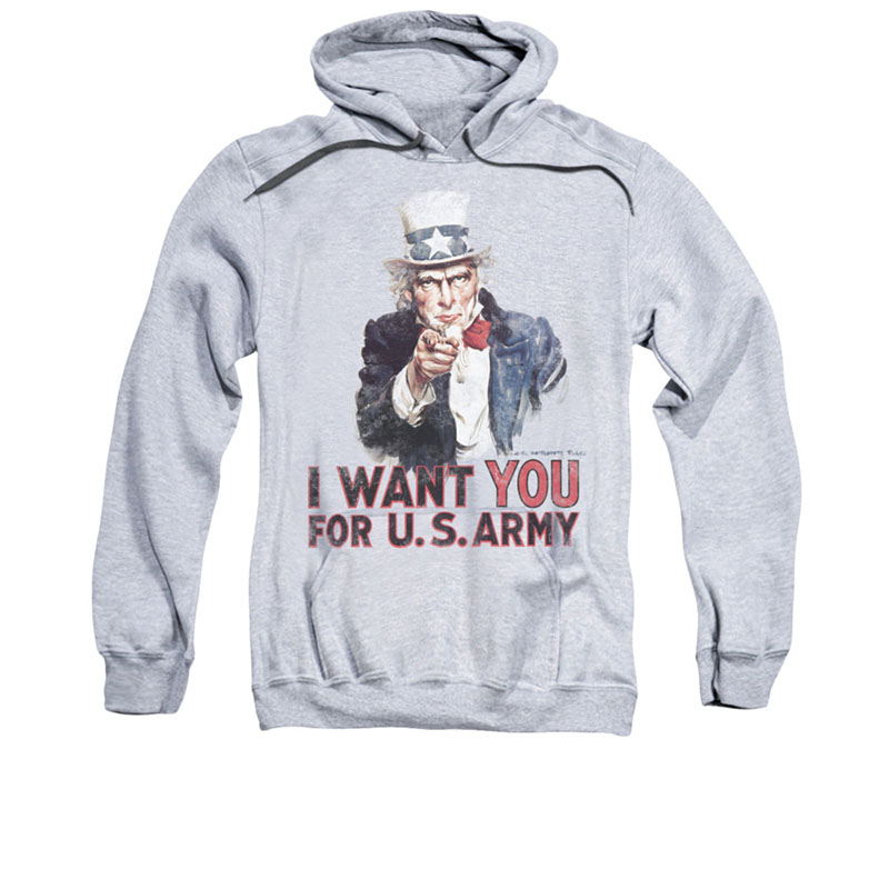US Army I Want You Gray Pullover Hoodie