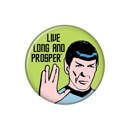 Star Trek Green Live Long And Prosper Spock Button