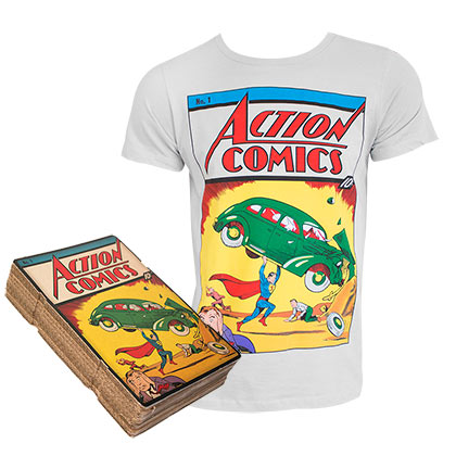 Superman Action Comics #1 Boxed Light Gray Tee Shirt