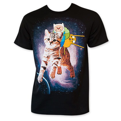 Adventure Time Men's Black Cat Riding T-Shirt