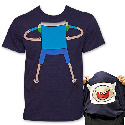 Adventure Time Finn Flip-Up Reversible Face T-Shirt - Blue