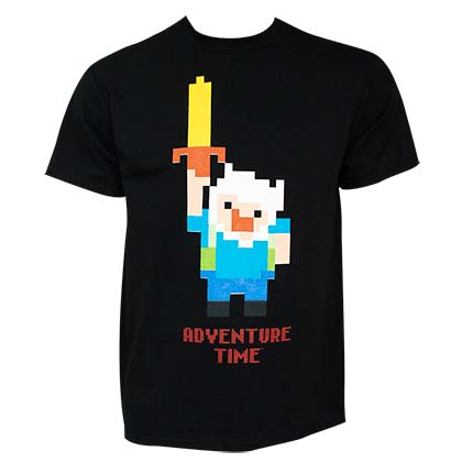 Adventure Time Legend Pixel Men's Black T-Shirt