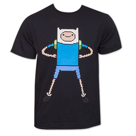Adventure Time Finn Pixelated 8-Bit Tee - Black