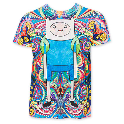 Adventure Time Sublimated Psychedelic Finn Tee Shirt