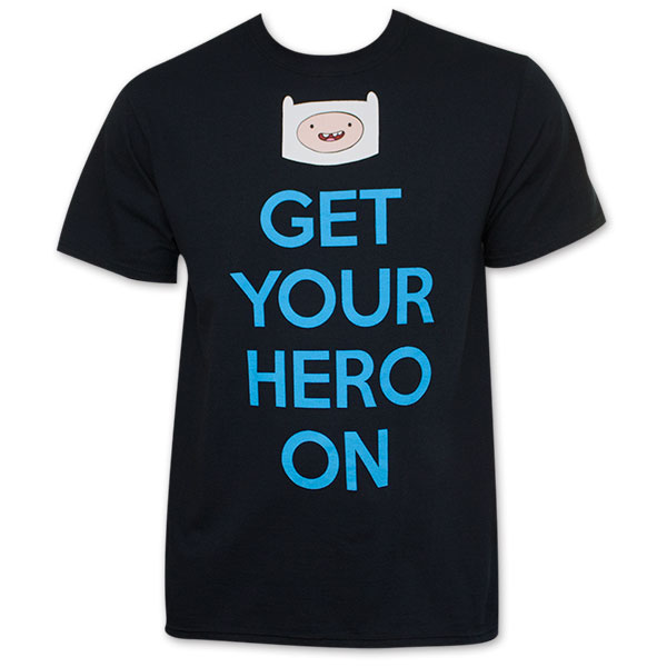 Adventure Time Get Your Hero On Men's Black Finn Tee Shirt
