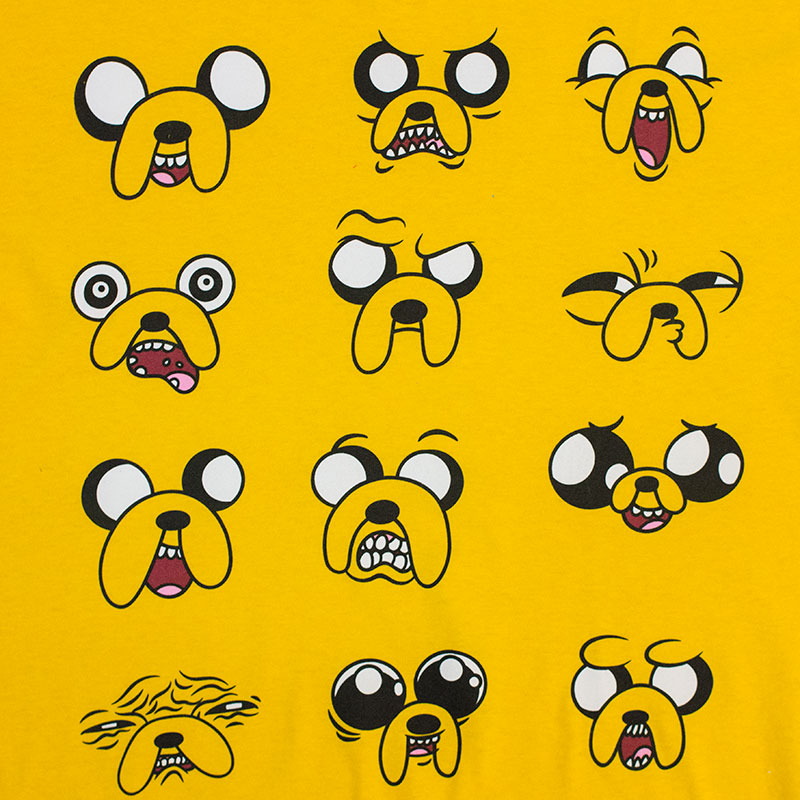 Adventure Time Many Faces Of Jake Yellow Tee Shirt