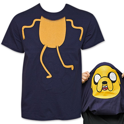 Adventure Time Jake Flip-Up Reversible Face T-Shirt - Blue