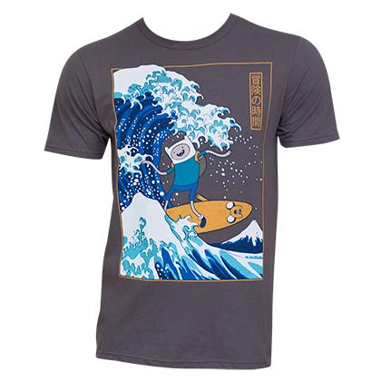 Men's Adventure Time Cartoon Surfing The Great Wave Japanese  T-Shirt