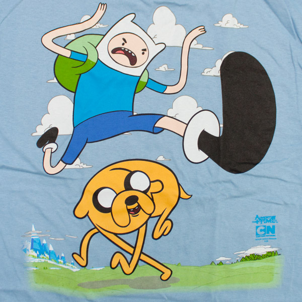 Adventure Time Finn Jump Kick T-Shirt - Blue