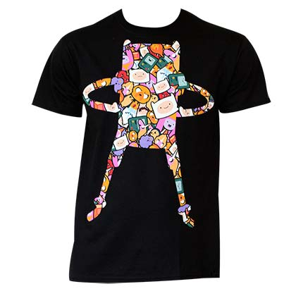 Men's Cotton Adventure Time Cartoon Super Pop Finn Pattern T-Shirt