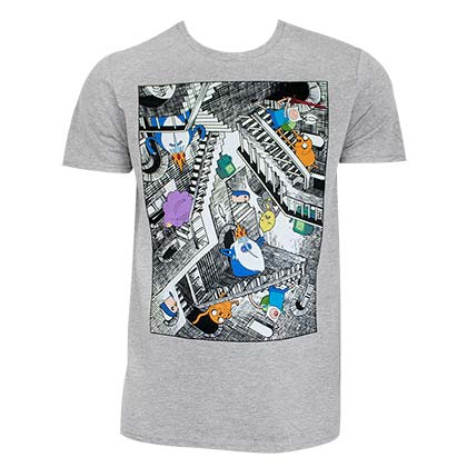 Adventure Time Men's Grey Escher Stairs T-Shirt