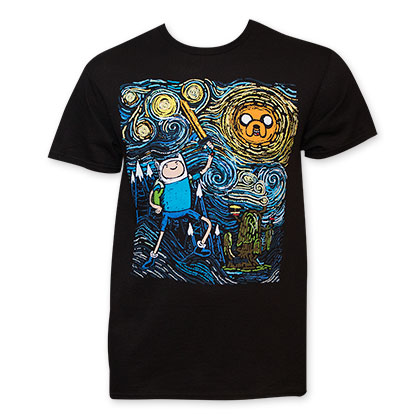 Adventure Time Men's Black Starry Night T-Shirt