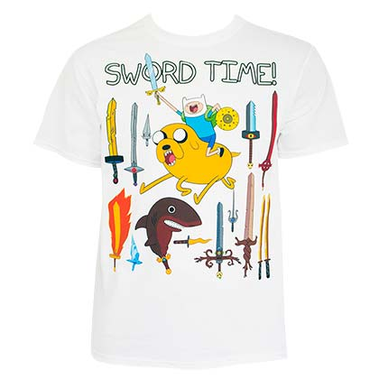 Adventure Time Men's White Sword Time T-Shirt