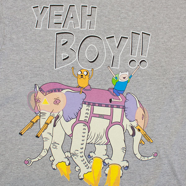 Adventure Time Ancient Psychic Tandem War Elephant Tee - Gray