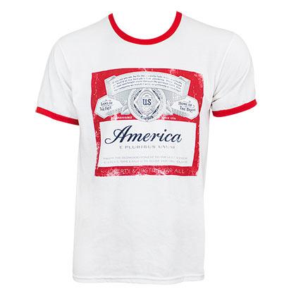 Budweiser Men's White America Ringer T-Shirt