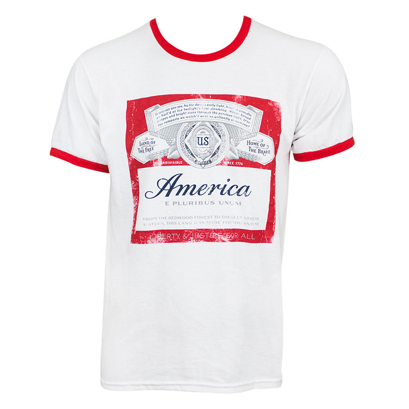 Budweiser America Ringer Tee Shirt