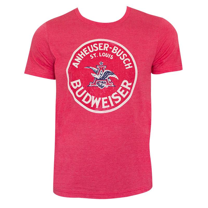 Budweiser Anheuser-Busch Logo Red Tee Shirt