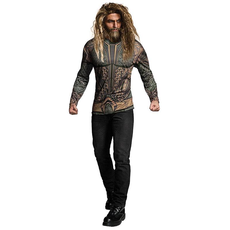 Aquaman Movie Long Sleeve Men's Halloween Costume T-Shirt