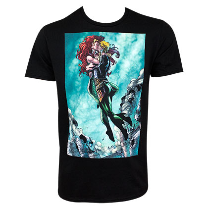 Aquaman & Mera Kissing Black Tee Shirt