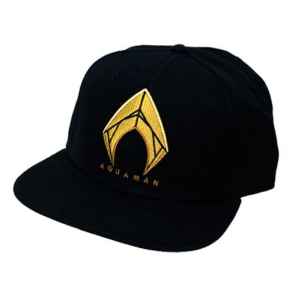 Aquaman Embroidered Superhero Logo Black Snapback Hat