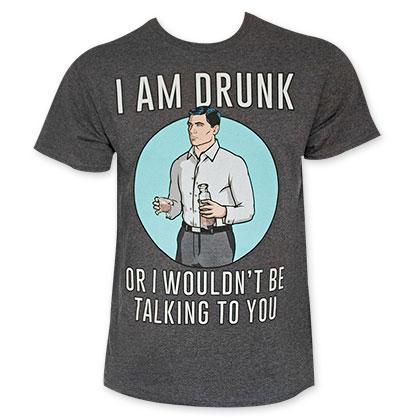 Archer I Am Drunk Men's Grey Tee Shirt