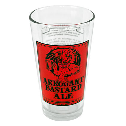Arrogant Bastard Ale Stone Brewing Story Pint Glass