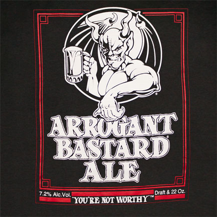 Arrogant Bastard Ale You're Not Worthy Black Graphic T-Shirt