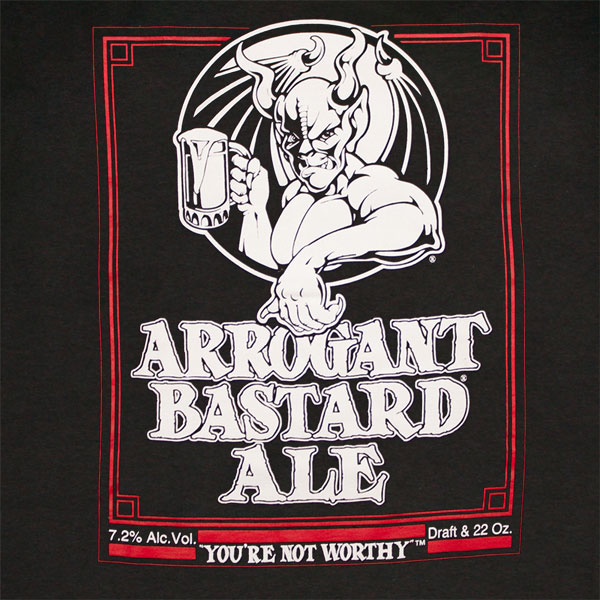 Arrogant Bastard Ale You're Not Worthy Black Graphic Tee Shirt