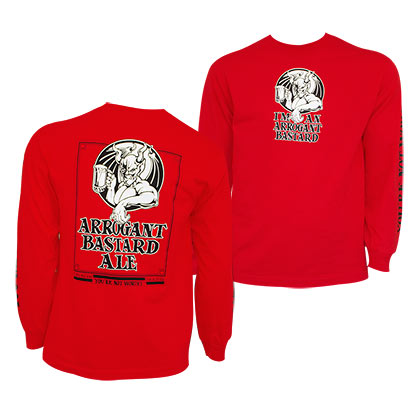 Arrogant Bastard Logo Long Sleeve Red Shirt