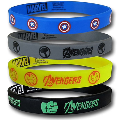 Avengers Superhero Logos Rubber Wristband Set