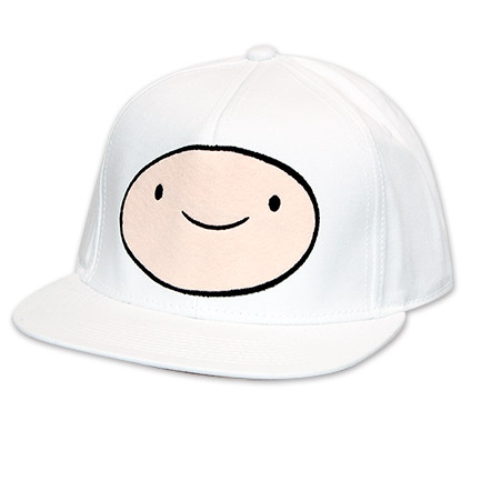 Adventure Time Embroidered Finn Snapback Hat - White