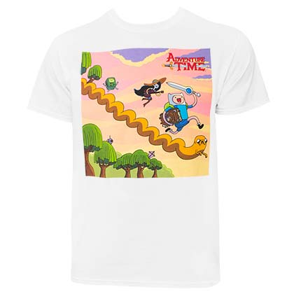 Adventure Time Running Characters Men's White Tee Shirt