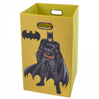 Batman Pose Yellow Folding Laundry Basket