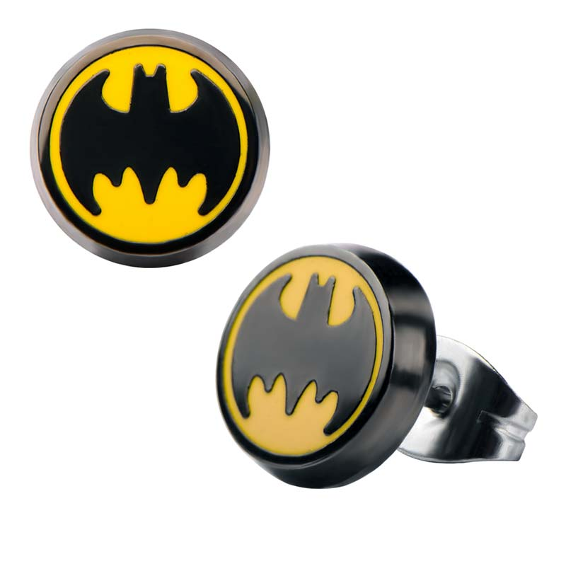 Batman Stud Enamel Earrings