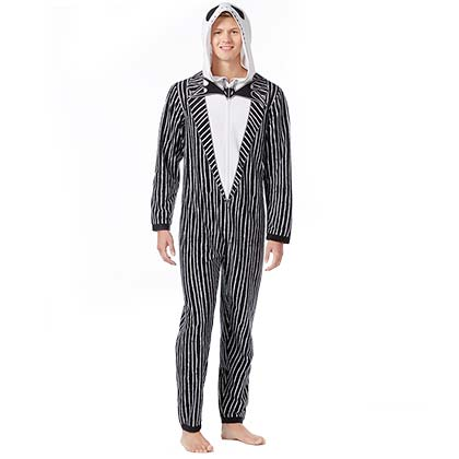 Nightmare Before Christmas Jack Skellington Black And White Pinstripe Union Suit