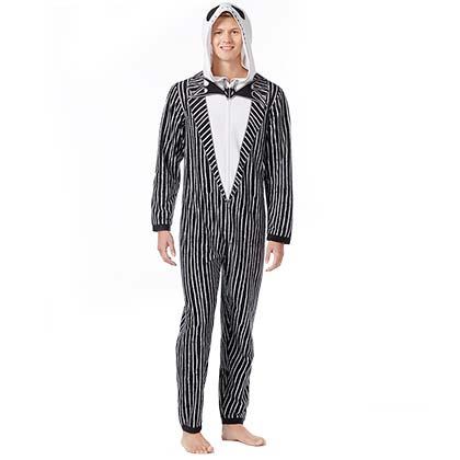Nightmare Before Christmas Black And White Jack Skellington Union Suit