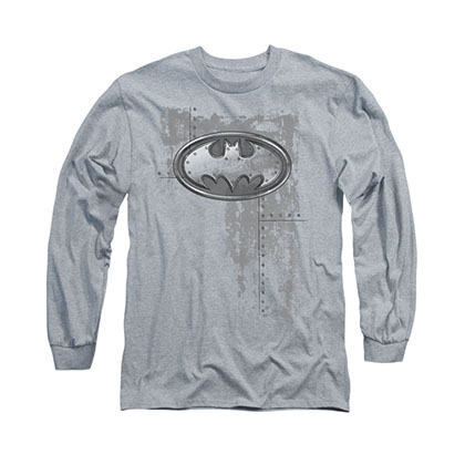 Batman Rivited Metal Gray Long Sleeve T-Shirt