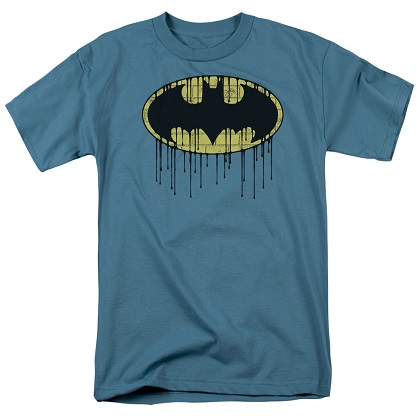 Batman Dripping Logo Slate Blue Tshirt