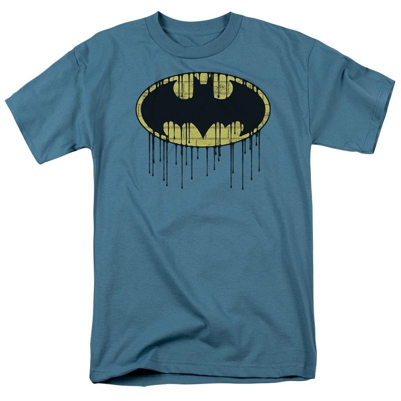 Batman Dripping Logo Slate Blue Tshirt