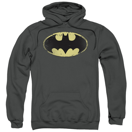 Batman Classic Distressed Logo Grey Hoodie