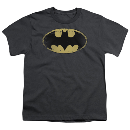 Batman Distressed Shield Grey Youth Tshirt