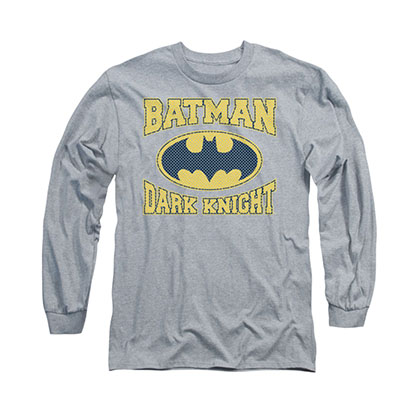 Batman Dark Knight Jersey Style Gray Long Sleeve T-Shirt