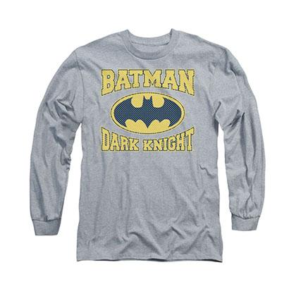 Batman Dark Knight Jersey Style Gray Long Sleeve T-Shirt