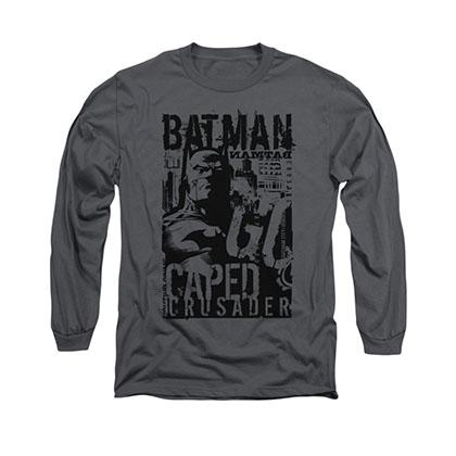 Batman Caped Crusader Gray Long Sleeve T-Shirt
