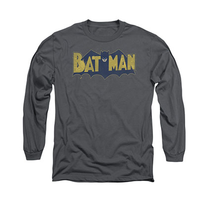 Batman Vintage Logo Gray Long Sleeve T-Shirt