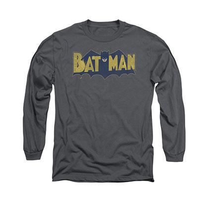 Batman Vintage Logo Gray Long Sleeve T-Shirt